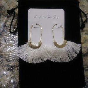 Boho White Tassel Earrings